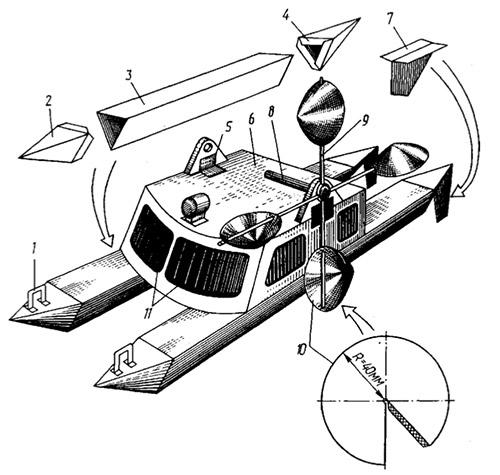 Схема как сделать катамаран из бумаги