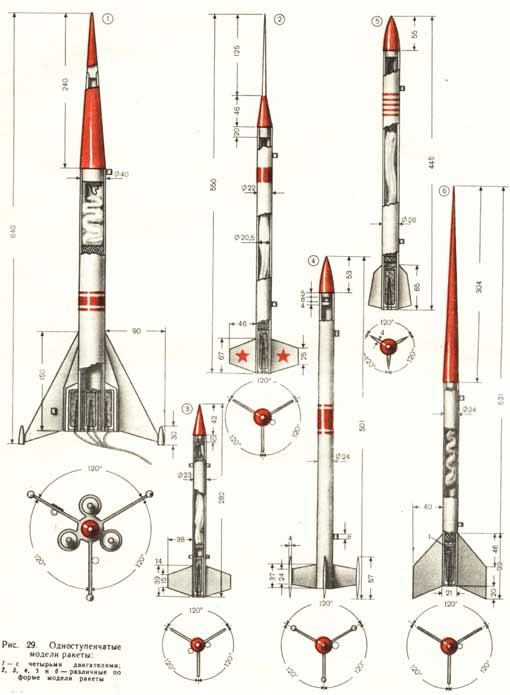 разрез модели ракеты