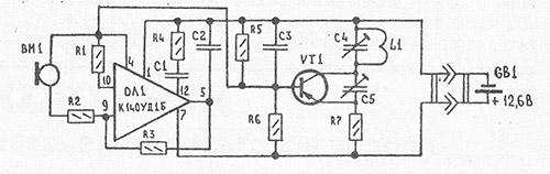 Схема простейшего радиопередатчика.