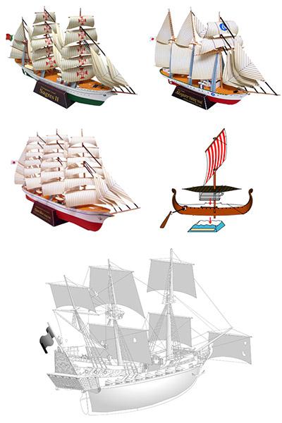 Корабль из бумаги, парусник