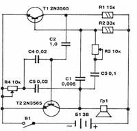 На рисунке 1 дана схема электронной приманки.  Схема состоит из мультивибратора длительности пауз на.